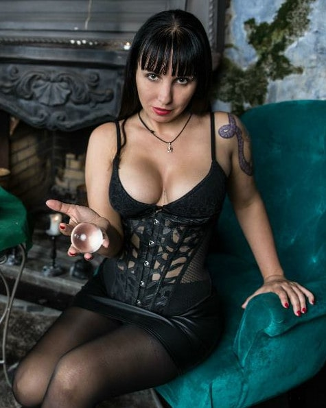 cleavage mistress toying ball