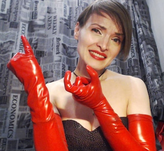 red latex gloves mistress measuring small dick