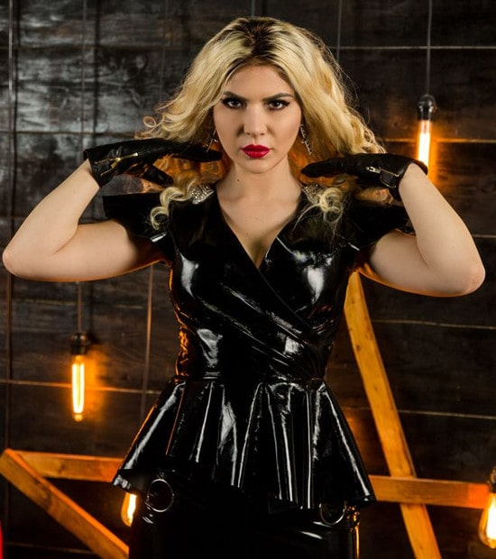 blonde mistress modeling latex top & latex gloves